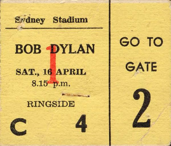 Bob Dylan sydney 1966 ticket