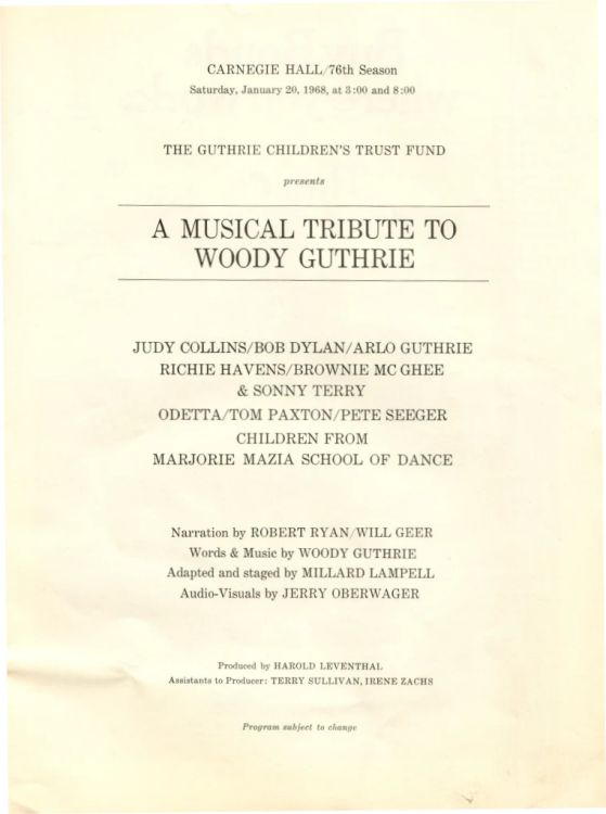 20 Jan 1968 Woody Guthrie Tribute Concert Programme 3