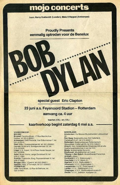 Bob Dylan 1978 world tour rotterdam leaflet
