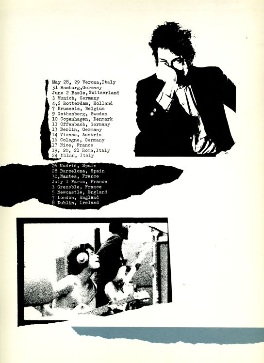 Bob Dylan 1984 europe tour back 2 Programme
