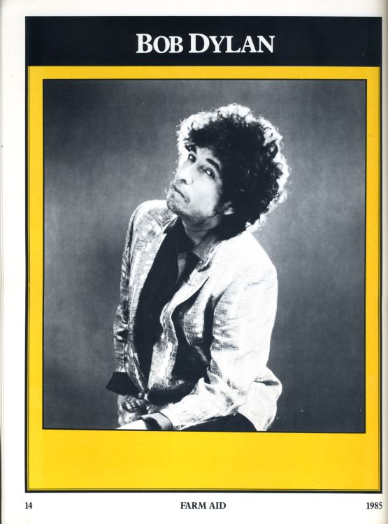 Bob Dylan 22 september 1985 farmaid Programme inside page