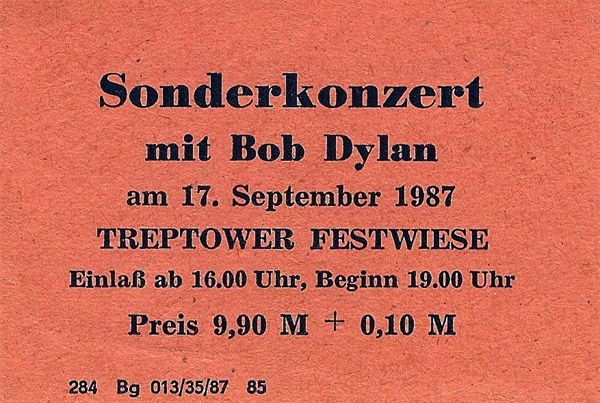 Bob Dylan 17 september east berlin ticket
