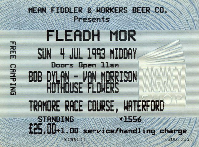 Bob Dylan 1993 07 04 waterford ticket