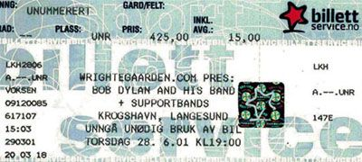 Bob Dylan langesund 28 june 2001 ticket