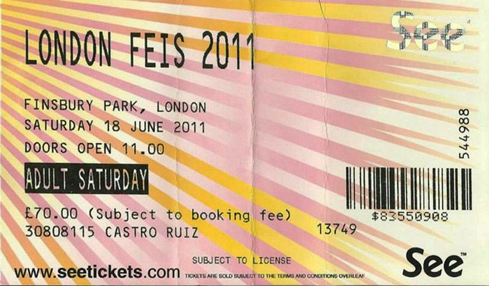 london feis 2011 18 june Bob Dylan ticket