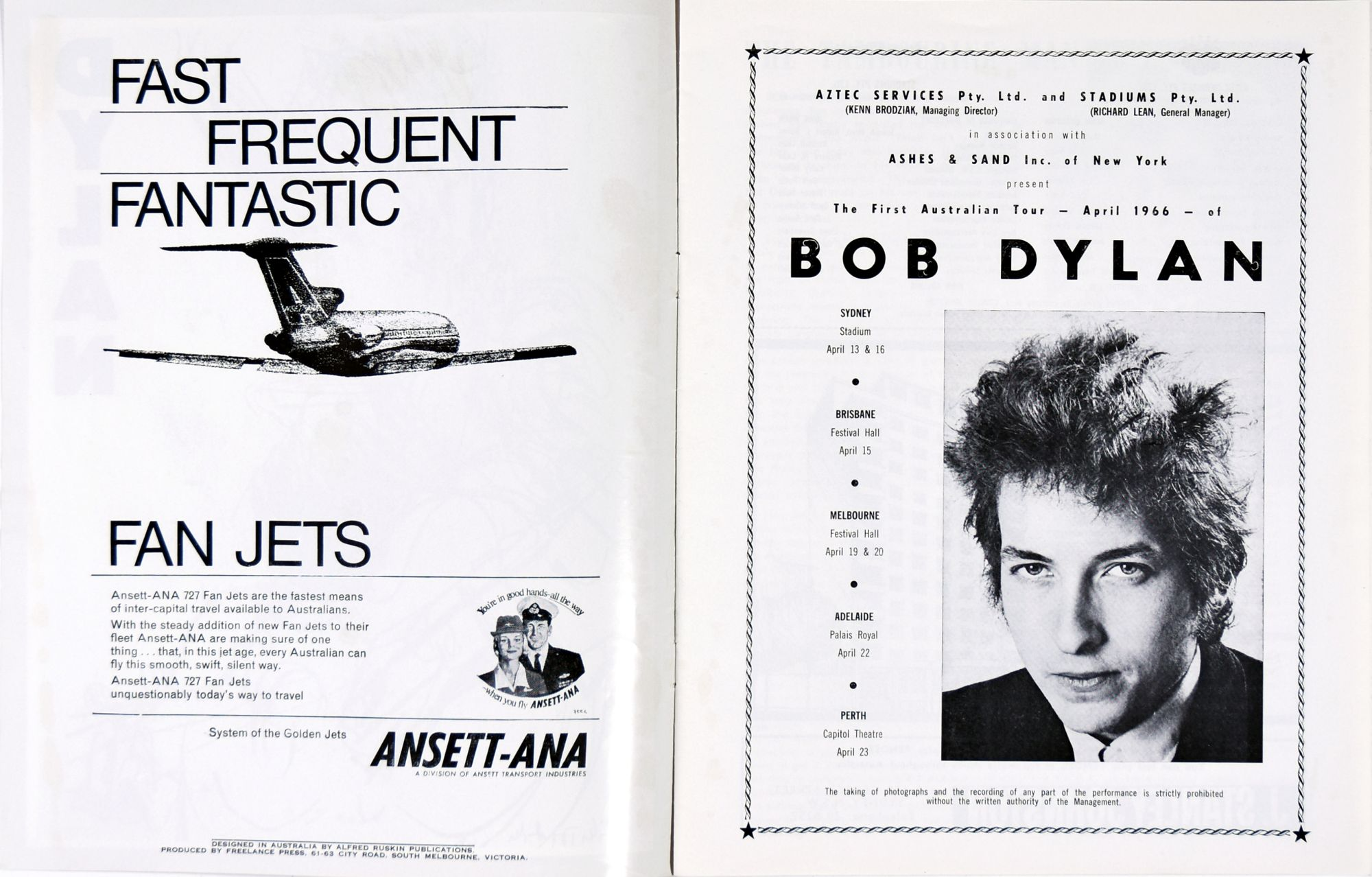 Bob Dylan australia 1966 Programme inner pages