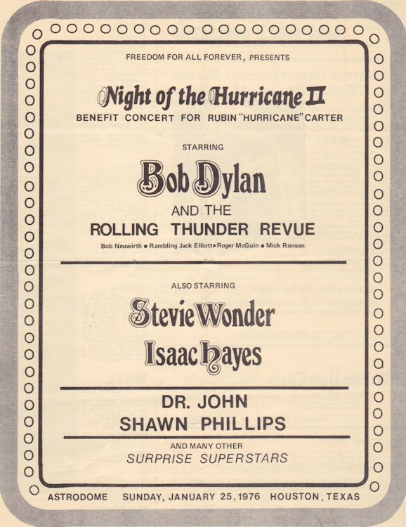 night of the hurricane houston 1976 Bob Dylan Programme