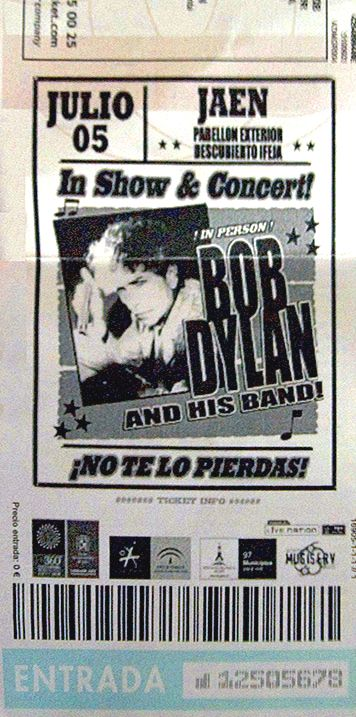 Bob Dylan ticket jaen 5 july 2008