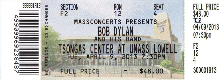 Bob Dylan lowell 2013 concert ticket