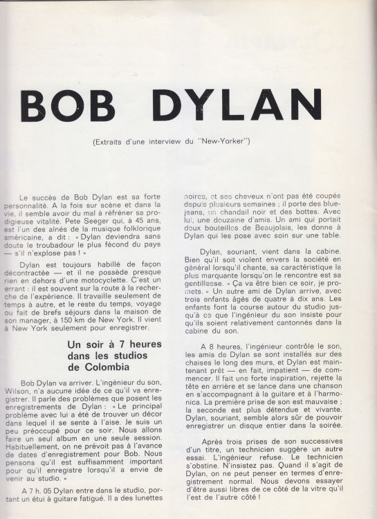 Paris 24 May 1966 Olympia Bob Dylan Programme inner 2