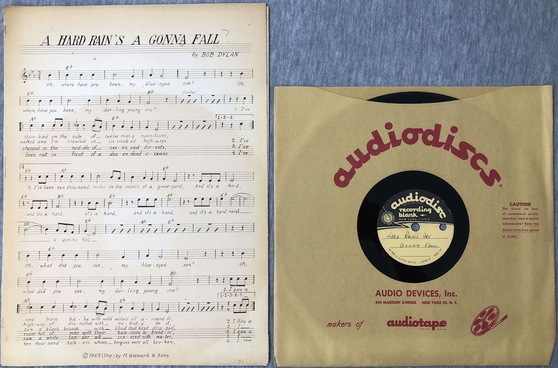 bob dylan a hard rain sa gonna fall acetate sheet music