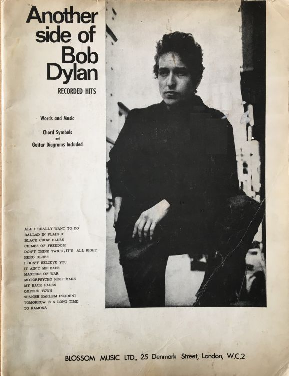Another Side Of bob dylan blosson ltd uk songbook