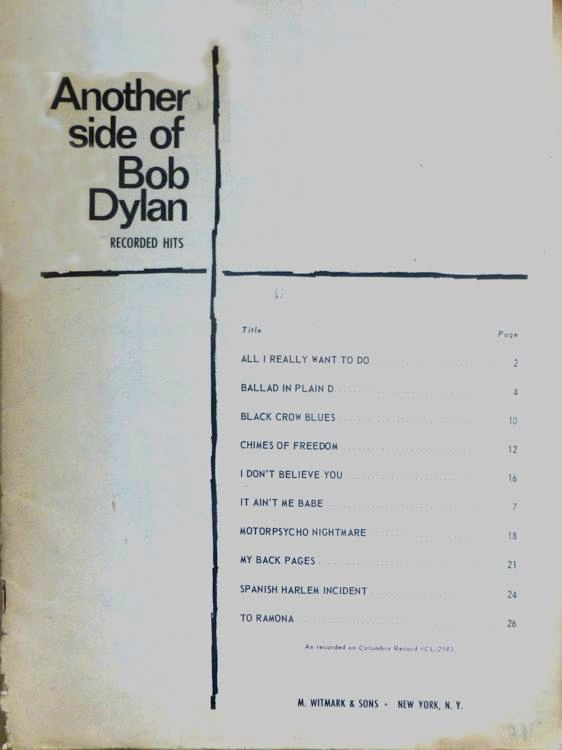 Another Side Of witmark & son bob dylan songbook