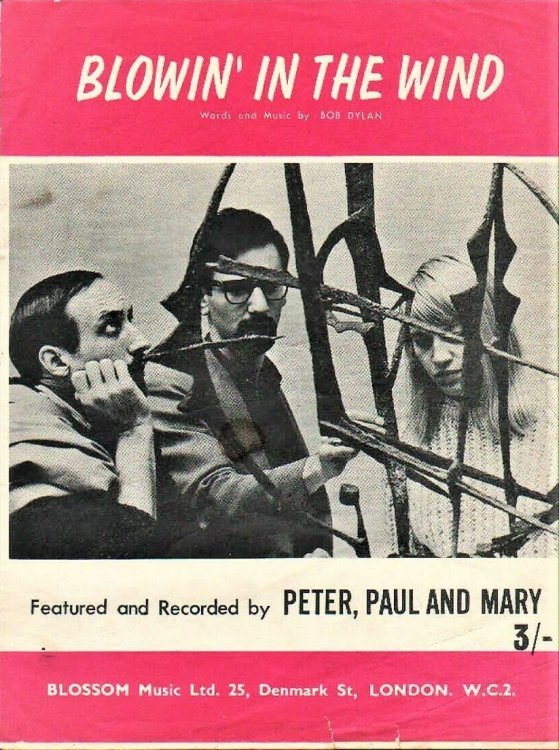 bob dylan blowin' in the wind Peter, Paul And Mary', Blossom, UK, sheet music