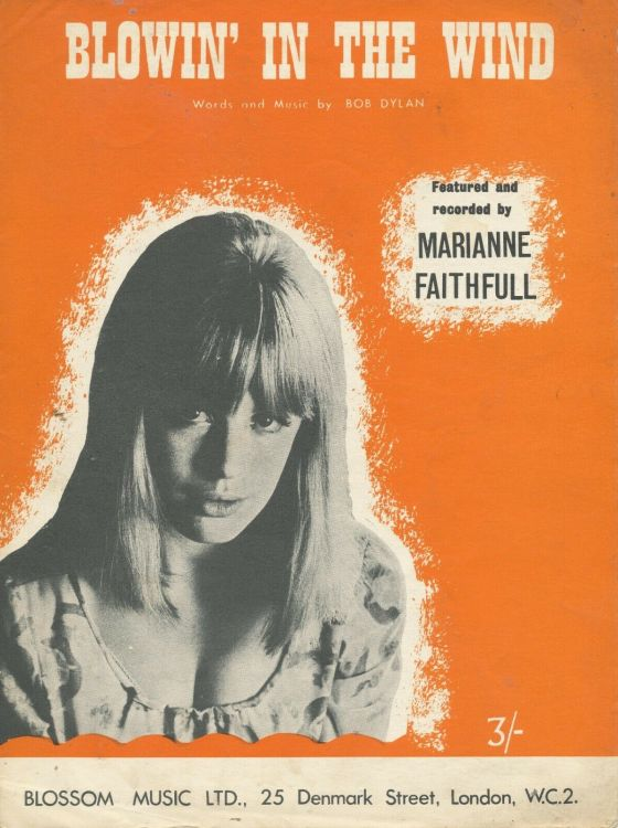 bob dylan blowin' in the wind sheet music marianne Faithfull