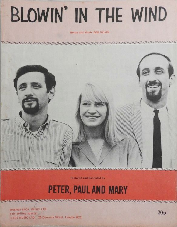 bob dylan blowin' in the wind Peter, Paul And Mary, Warner Bros. Limited sheet music