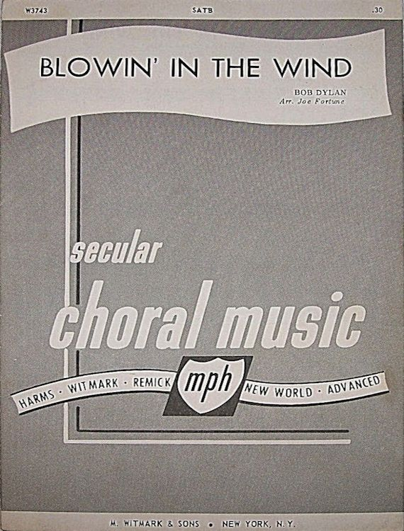 bob dylan blowin' in the wind secular choral music sheet music