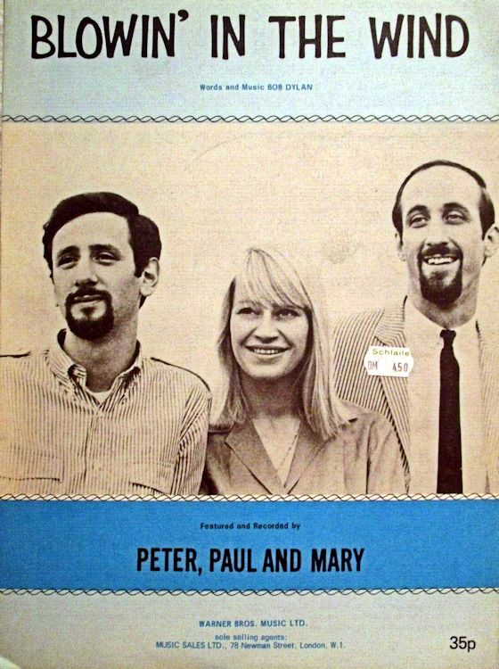bob dylan blowin' in the wind Peter, Paul And Mary, Warner Bros. blue 35p
