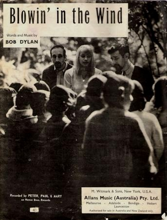 bob dylan blowin' in the wind Peter, Paul And Mary', Allan's Music, Australia sheet music
