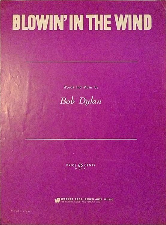 bob dylan blowin' in the wind usa warner sheet music