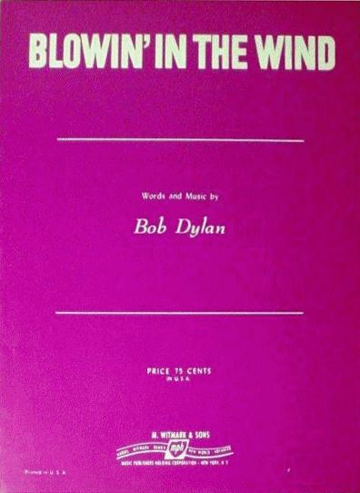 bob dylan blowin' in the wind usa witmark sheet music