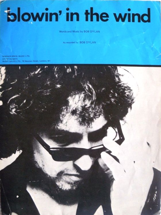 bob dylan blowin' in the wind uk warner bros sheet music