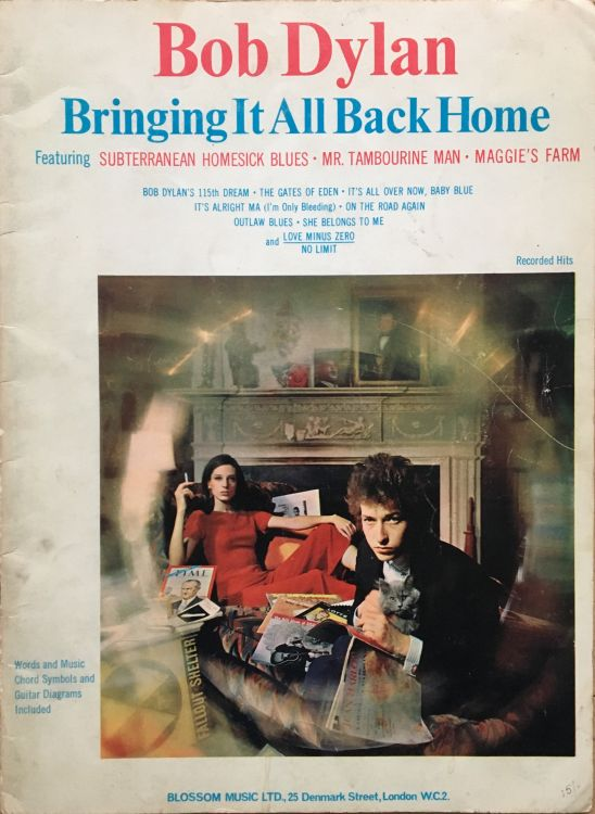 bob dylan bringing it all back home Blossum Music Ltd., London songbook