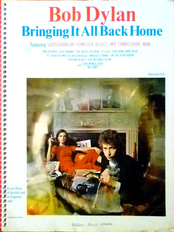 bob dylan bringing it all back home spiral binding songbook