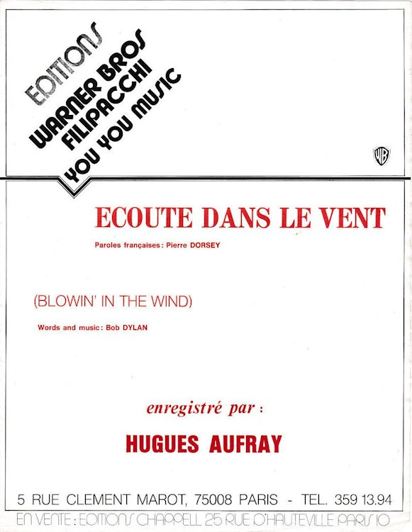 bob dylan blowin' in the wind sung by Hugues Aufray french sheet music
