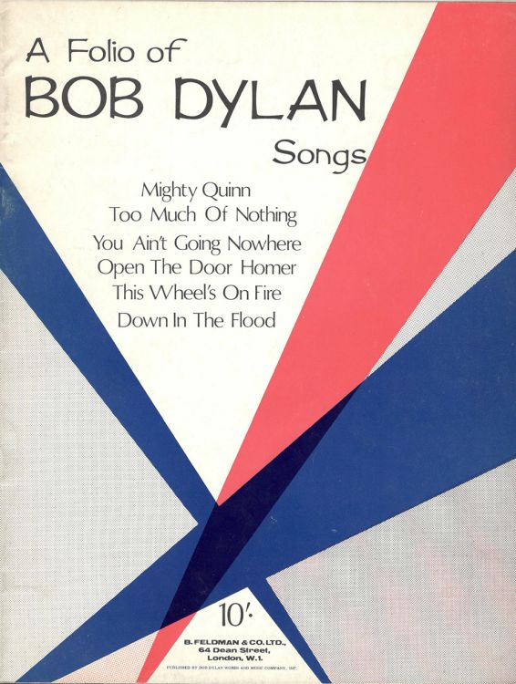 bob dylan A Folio of Songs songbook 1967