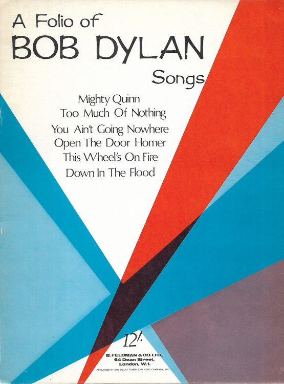 bob dylan A Folio of Songs songbook 1968