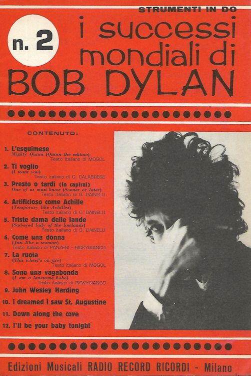 I Successi Mondiali di bob dylan 1968 strument in Do, 41-52 76 pages songbook