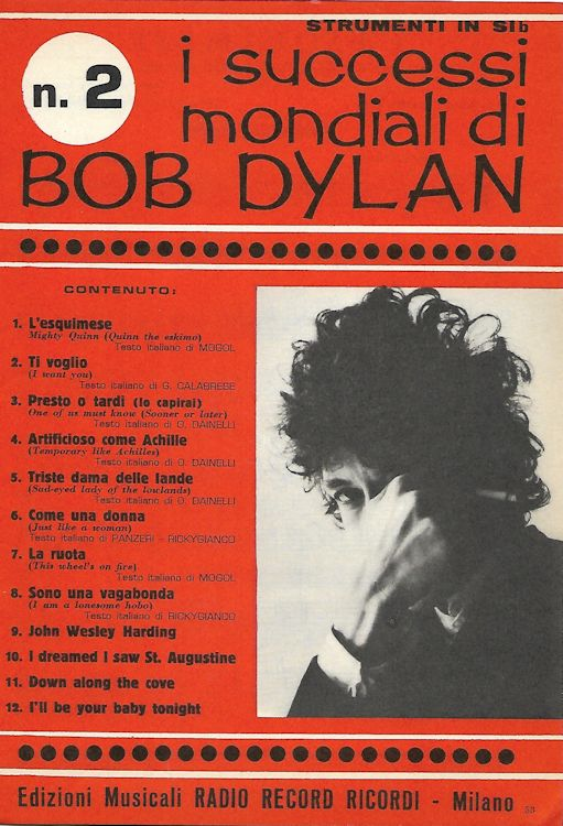 I Successi Mondiali di bob dylan 1968 strument in Sib, 76 pages songbook