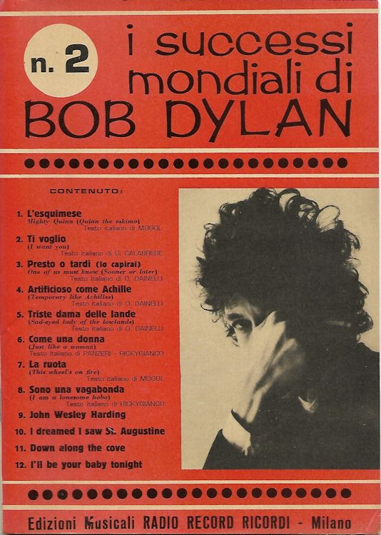 I Successi Mondiali di bob dylan 1968, 76 pages songbook