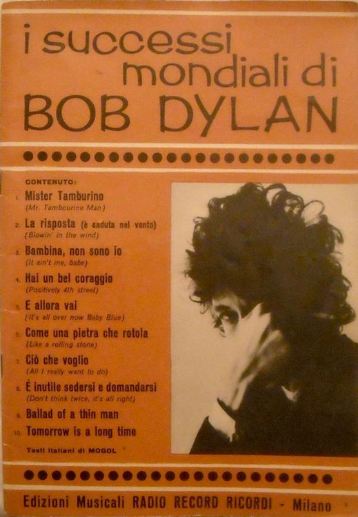 I Successi Mondiali di bob dylan 1969, 28 pages songbook