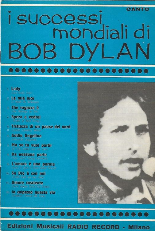 I Successi Mondiali di bob dylan 1970, 16 pages. 'Canto' songbook