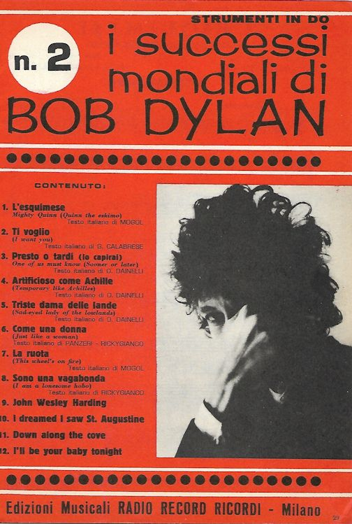 I Successi Mondiali di bob dylan 1968 strument in Do, 76 pages songbook