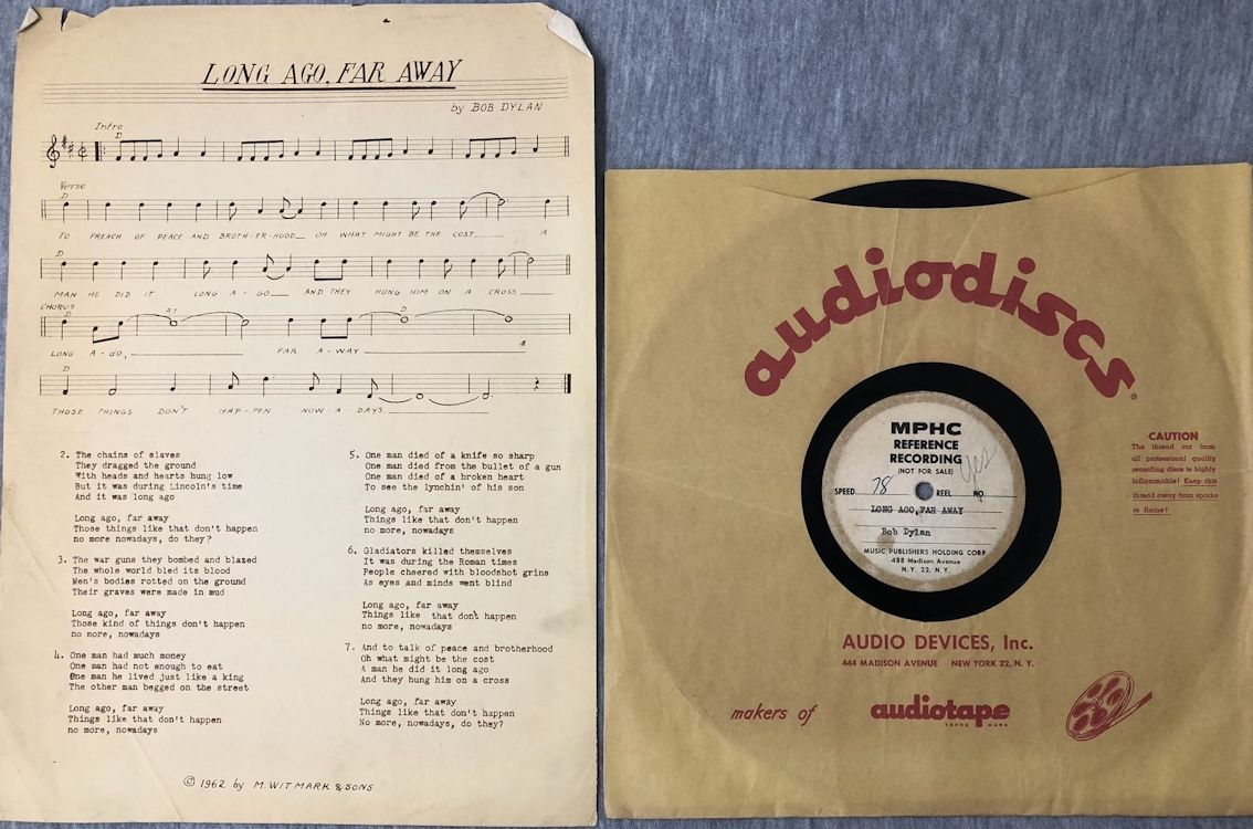 bob dylan lond ago far away  acetate sheet music