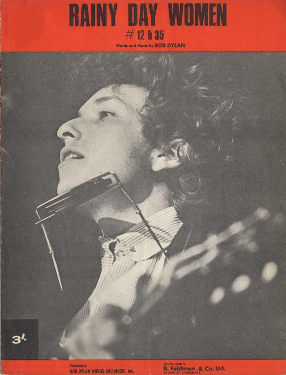 bob dylan rainy day women #12 & 35 1966 feldman sheet music