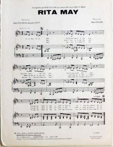 bob dylan rita may sheet music