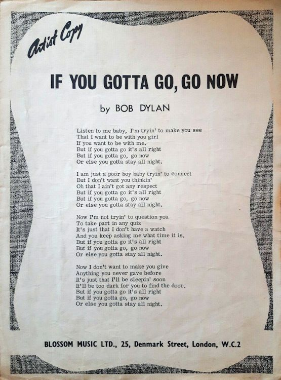 bob dylan if you gotta go go now uk blossom sheet music