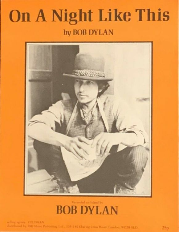 bob dylan on a night like this sheet music