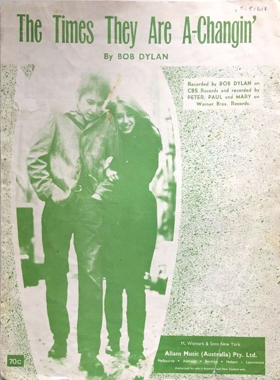 bob dylan the times they are a-changin' australia alternate sheet music