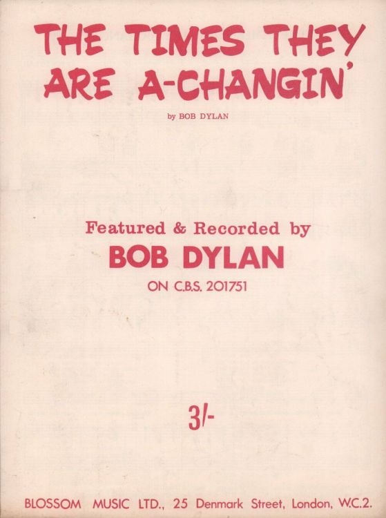bob dylan the times they are a-changin' blossom music sheet music