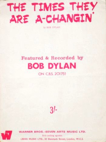 bob dylan uk warner brod seven arts the times they are a-changin' sheet music