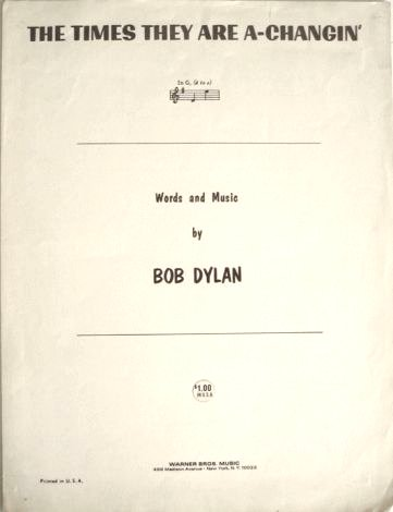 bob dylan the times they are a-changin' us warner bros sheet music