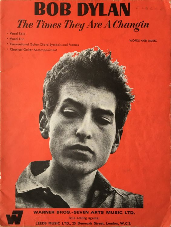 bob dylan The Times They Are A-Changin' 1966, Warner Bros., Seven Arts Music Ltd, Leeds Music Ltd songbook