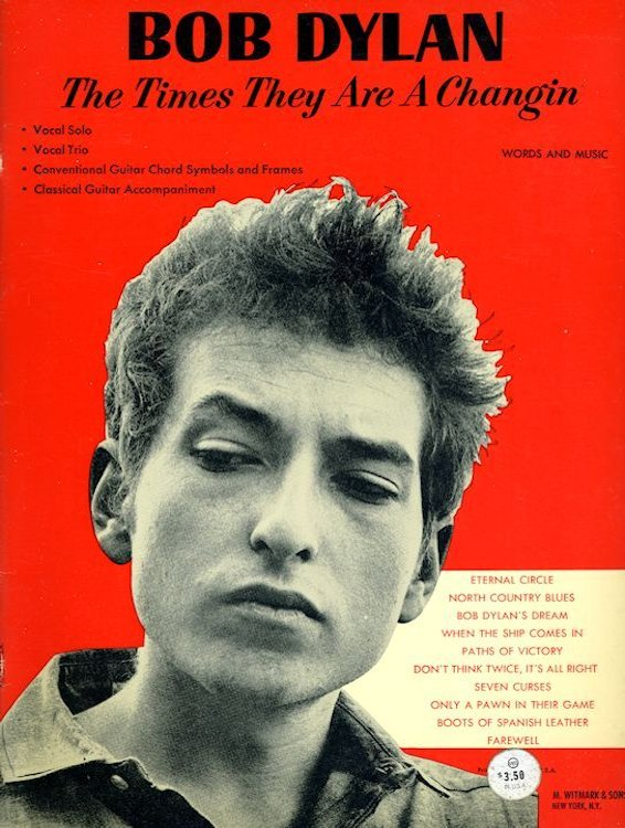 bob dylan The Times They Are A-Changin' M.Witmark & Sons, NYC 1963 songbook