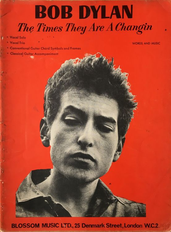 bob dylan The Times They Are A-Changin' Blossom Music Ltd, London 1964 songbook