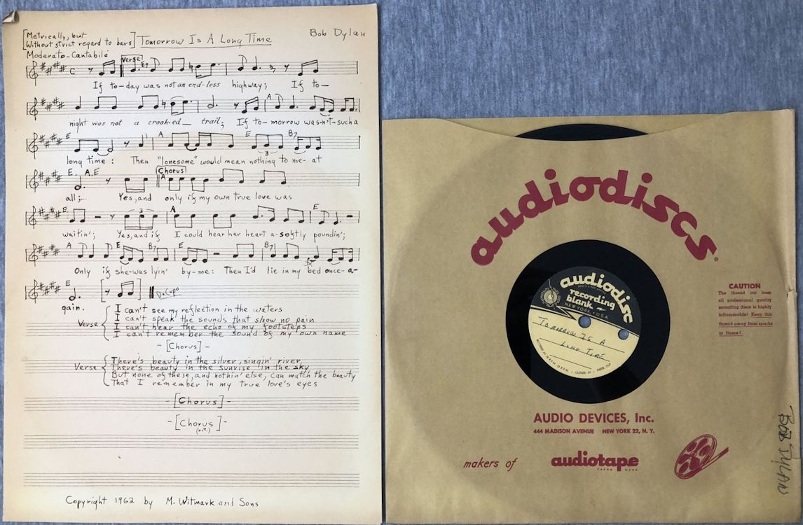 bob dylan acetate tomorrow is a long time  sheet music